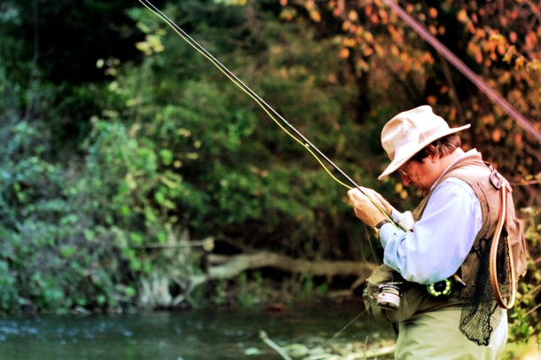 Rich readies to trick a feeding trout with an ant.