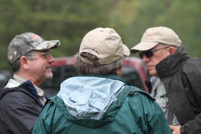 Massanutten TU members Rodney Miner, Richard Foust and Bob Holloway prepare to guide the vets.